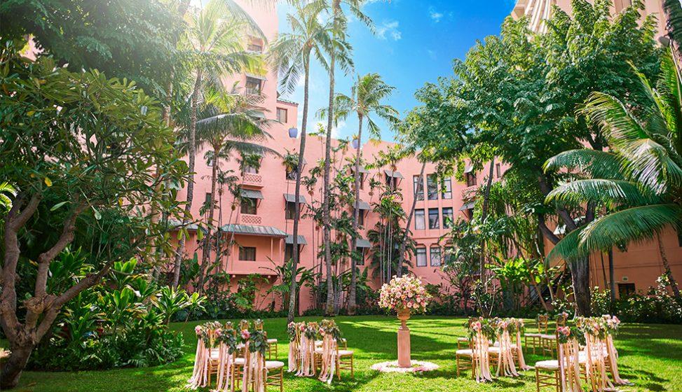 人気リゾート結婚式 ロイヤル ハワイアン ウェディング E